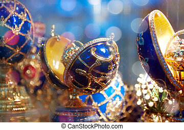 Decorated eggs (Faberge Eggs) at counter in jewelry store