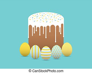 Decorated eggs with easter cake