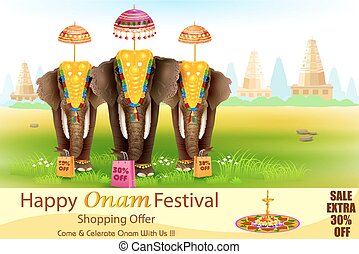 Decorated elephant for Happy Onam - easy to edit vector ...