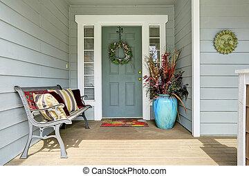Decorated entrance porch