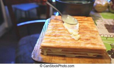 decorated food preparation chiffon sweet layer cake...