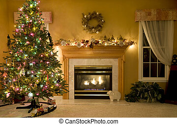 An attractive living room decorated for the holidays.