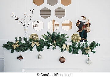 Decorated for christmas fireplace