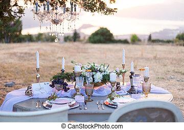 decorated for wedding elegant dinner table