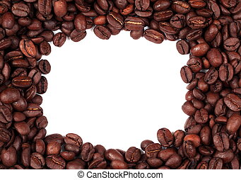decorated frame from coffee beans with white copy space