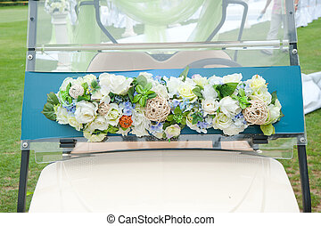 Decorated golf cart for wedding