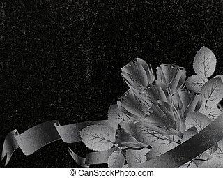 decorated granite - rose decoration at black granite...
