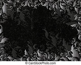 floral decoration at black granite gravestone, copyspace
