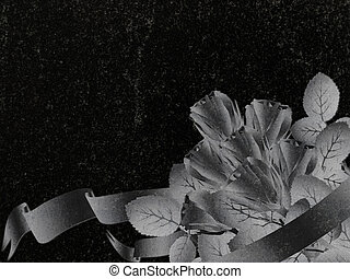 rose decoration at black granite gravestone, copyspace