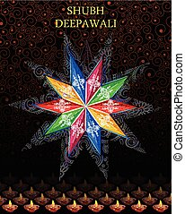 Decorated hanging lamp for Diwali celebration
