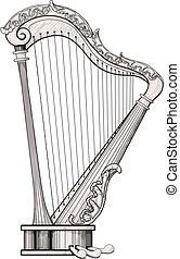 decorated harp isolated on white background. The area itself harp is a little different from the color of the background for easy isolation