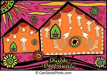 Decorated house for Diwali