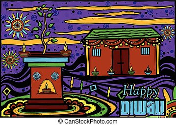 Decorated house for Diwali - easy to edit vector...