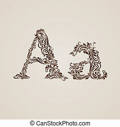Decorated letter A - Handsomely decorated letter A in upper...