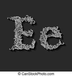 Decorated letter e