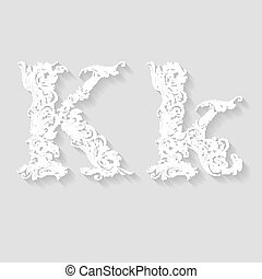 Handsomely decorated letter K in upper and lower case on gray