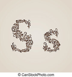 Decorated letter s - Handsomely decorated letter s in upper...