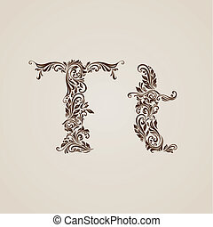 Decorated letter t - Handsomely decorated letter t in upper...
