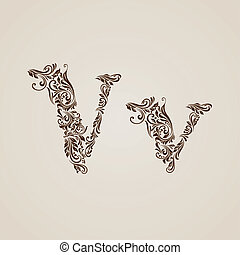 Handsomely decorated letter v in upper and lower case.