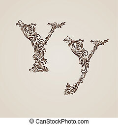 Decorated letter y - Handsomely decorated letter y in upper...