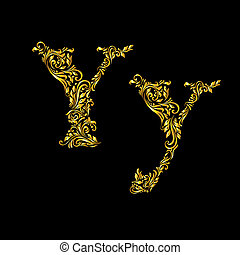 Decorated letter 'y'