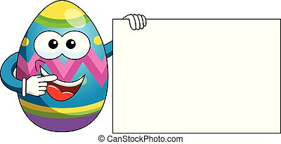 Decorated mascot easter egg holding blank banner isolated on...