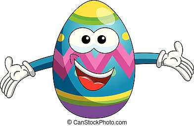 Decorated mascot easter egg hug or open arms isolated
