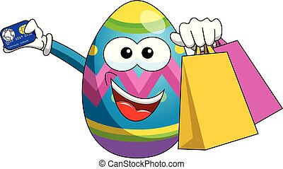 Decorated mascot easter egg shopping bags and credit card isolated