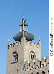 Decorated monastery tower with battlements