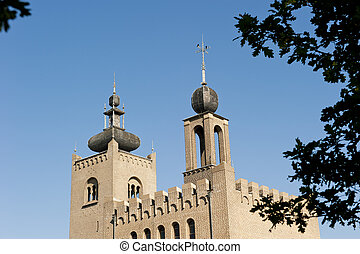 Decorated monastery towers with battlements