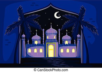 Decorated mosque in Eid Mubarak background
