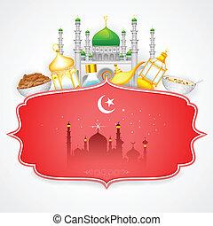 Decorated mosque on Eid Mubarak (Happy Eid) - easy to edit...
