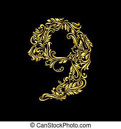 Richly decorated nine digit on black background.
