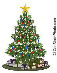 Decorated oldstyle christmastree wi