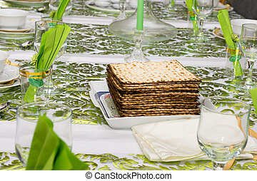Decorated Passover Seder table in Tel Aviv, Israel