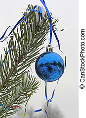 decorated pine branch