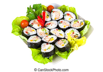 Decorated plate of sushi