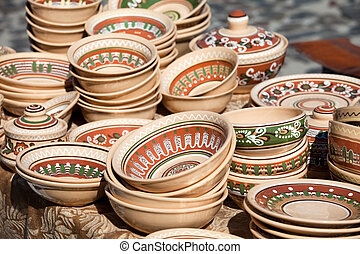Decorated pottery collection at the handicraft market
