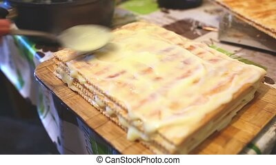 decorated preparation chiffon food sweet layer cake...