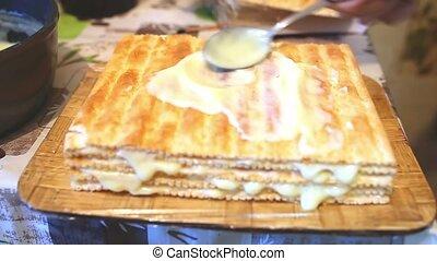 decorated preparation chiffon sweet food layer cake ...