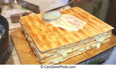 decorated preparation chiffon sweet layer cake lifestyle...