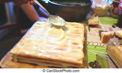 decorated preparation chiffon sweet layer cake lifestyle -...