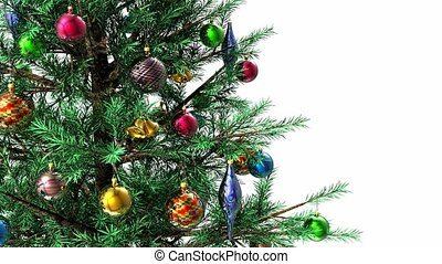 High definition 3D video of green decorated rotating Christmas tree with alpha mask key