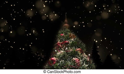 Decorated shining Christmas tree, magical starry night -...