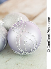 Decorated silver Christmas baubles