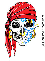 Decorated Skull - illustration of skull decorated with tatoo...
