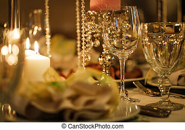Decorated table at a wedding