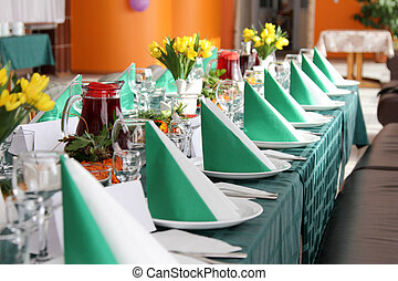 Decorated table.