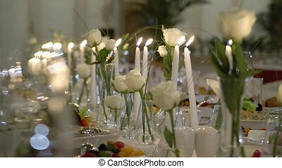Decorated table on a gala dinner party or wedding...