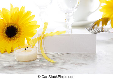 Decorated table setting and blank message card